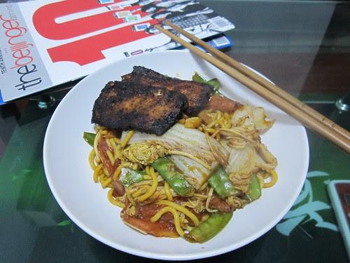 marinated tofu + noodles