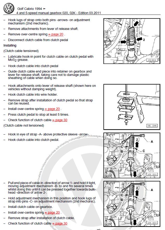 Volkswagen Golf Cabriolet 1994 2002 Manual Factory Manual