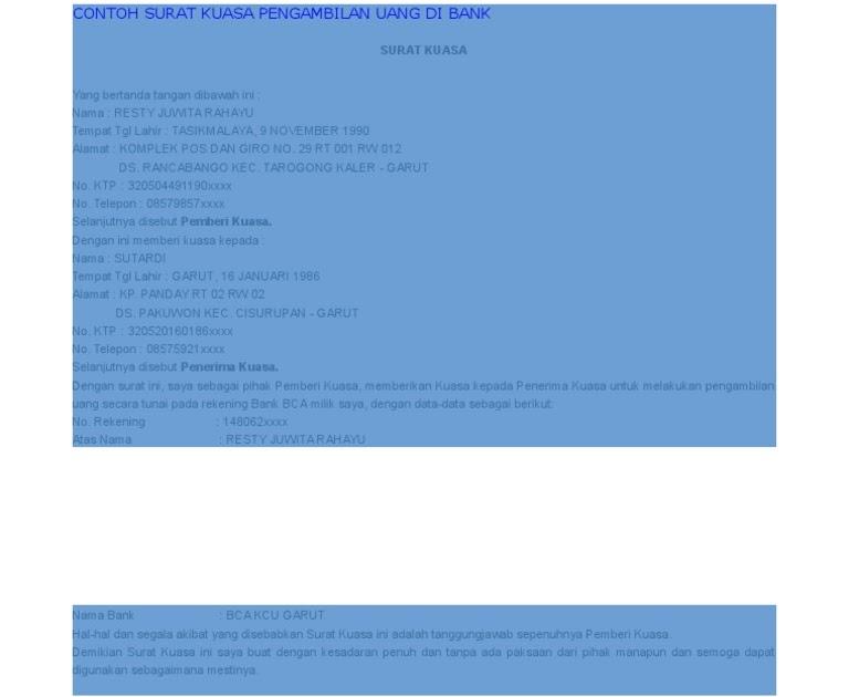 Contoh Surat Kuasa Pengambilan Uang Di Bank Doc - Info ...