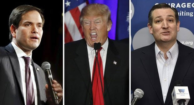 Os pré-candidatos republicanos Marco Rubio, Donald Trump e Ted Cruz (Foto: Reuter/Files)