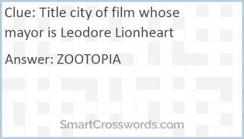 Title City Of Film Whose Mayor Is Leodore