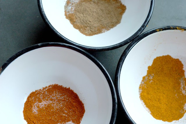 Three spice mixes by Eve Fox, Garden of Eating blog, copyright 2011
