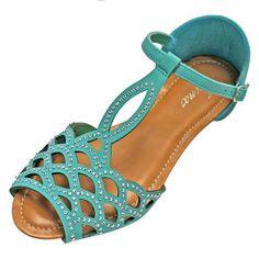 Luxury Divas Turquoise Blue Rhinestone Stud Peep Toe Summer Sandal Flats Size 6
