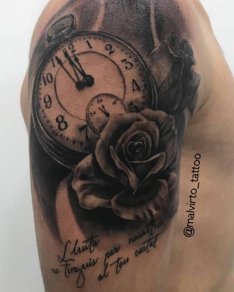 Tatuaje Reloj Con Rosas