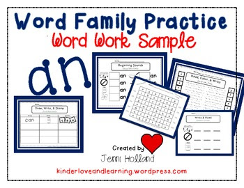 Word Work with the an Family: Freebie!