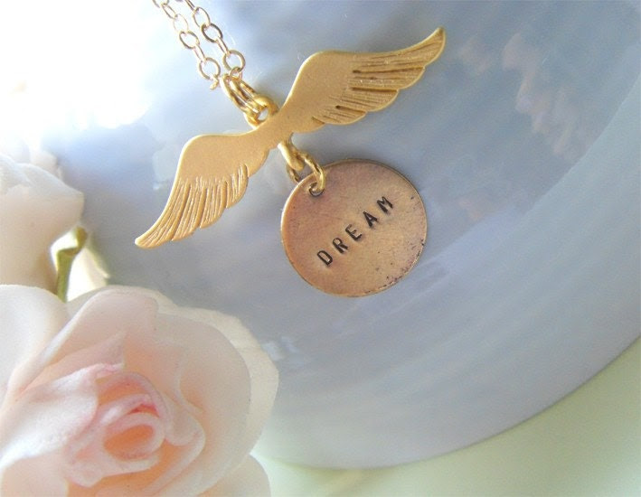 Angel of Dreams. Dainty and whimsical angel wing with custom brass tag stamped with DREAM necklace