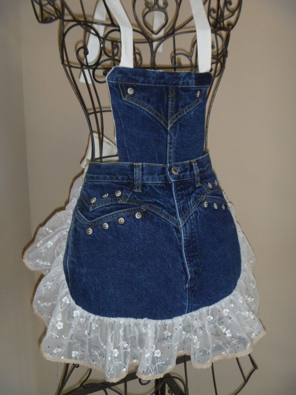 Denim Aprons - by Redneck Girl Aprons - Rocky jeans with metal studs, blinged lace with tiny crocheted edging, detachable bib #Denim #Apron #Crafts - LOVE this (and she has more) - would make great gifts too - pb†å