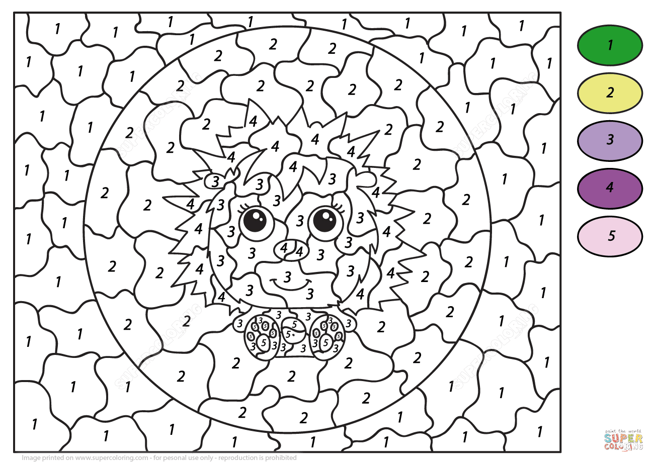 Cute Hedgehog Color by Number   Free Printable Coloring Pages
