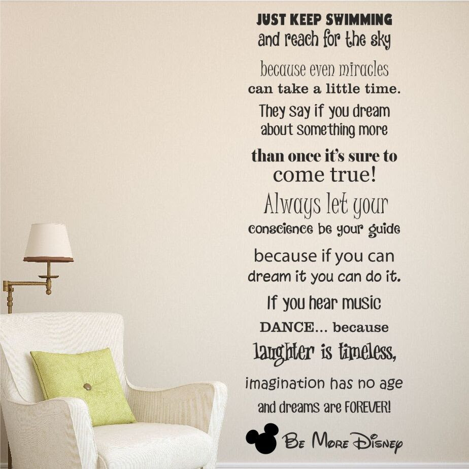 Be More Disney Saying Wall Quote Sticker Decal  Vinyl Words Kids Mickey  WQB19  eBay