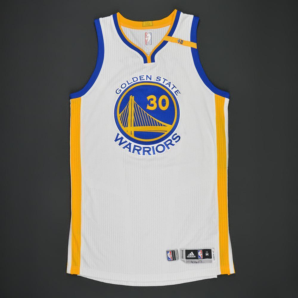 Stephen Curry - Golden State Warriors - White Playoffs w/ 42 Patch Game-Worn Jersey - 2016-17 ...