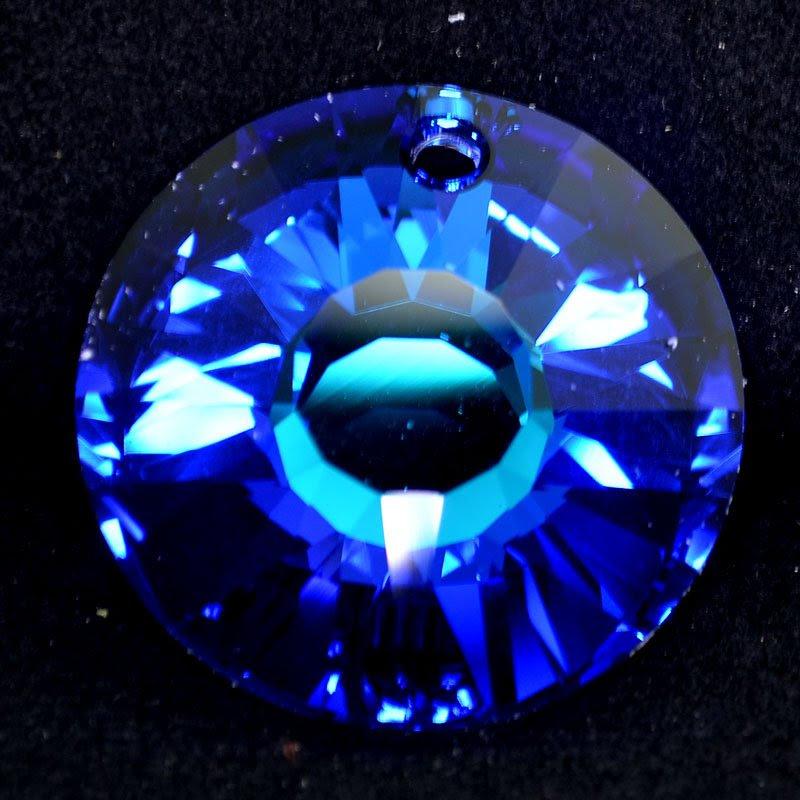 34767241530001 Swarovski Crystal Pendant - 33 mm Sun (6724) - Crystal Bermuda Blue (1)