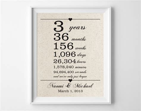 3 years together Cotton Anniversary Print 3rd Anniversary