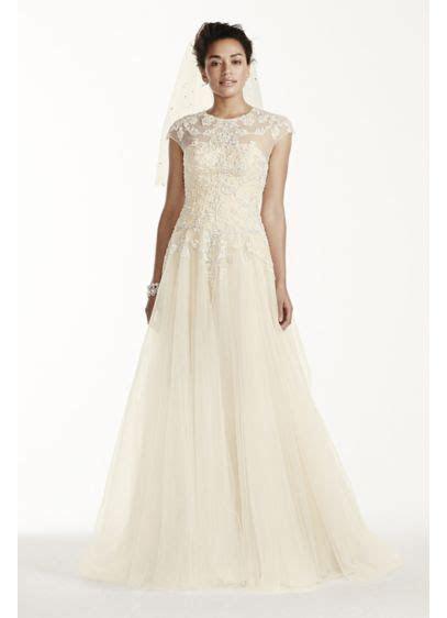 Oleg Cassini Cap Sleeve Tulle Wedding Dress   David's Bridal