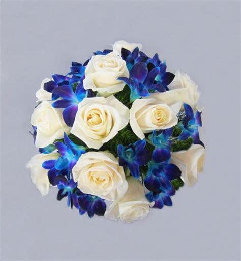Blue Orchids & Rose Bouquet Valley Florist San Jose