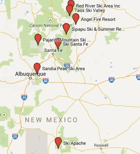 Ski Resort New Mexico Map Time Zones Map