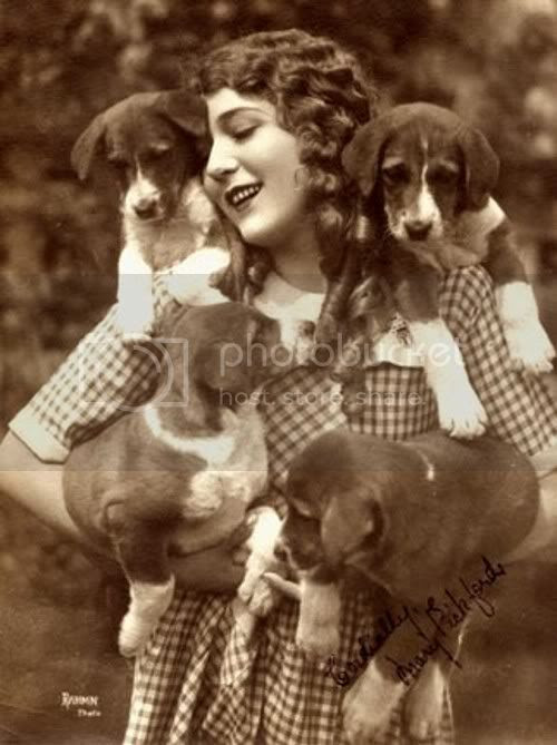 1920s silent screen star mary pickford with her puppies
