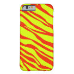 Cherry Red And Neon Yellow Zebra Striped Barely There iPhone 6 Case