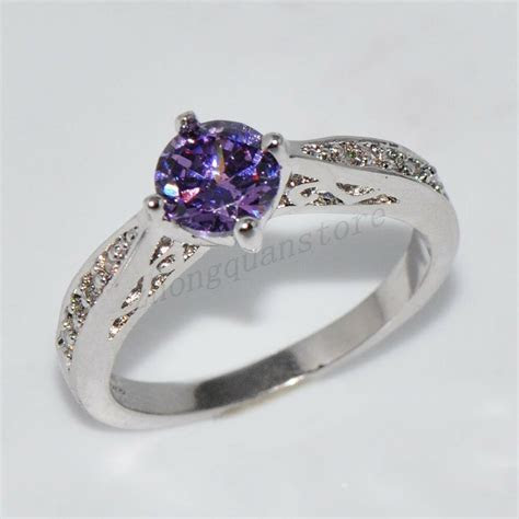 Size 6 10 Women's Purple Amethyst Crystal Engagement Ring