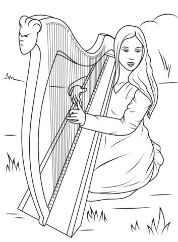 アイリッシュハープを弾く女の子 ぬりえ