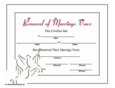 This certificate recognizing the renewal of wedding vows