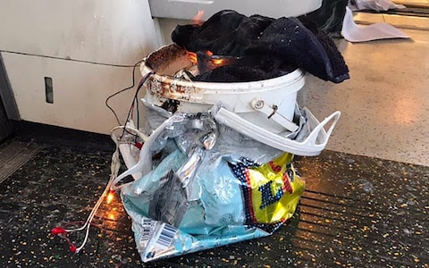 The white bucket that is said to have blown up on the Parsons Green carriage