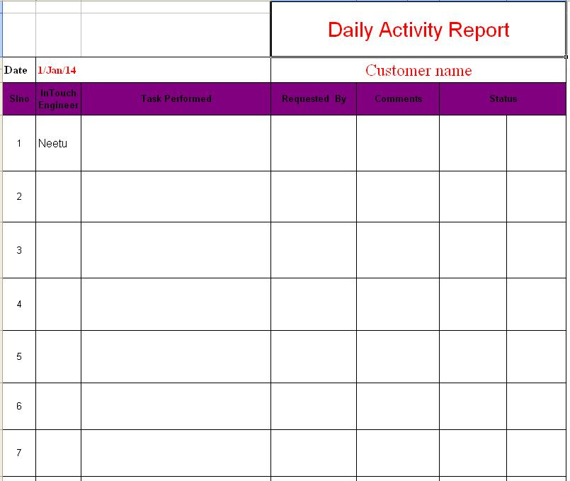 Daily Report Format In Excel Sheet – March 2017 Calendar