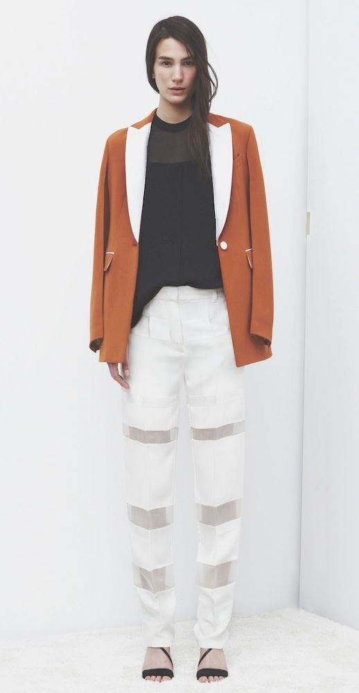 LE FASHION BLOG 3.1 PHILLIP LIM HOLIDAY 2013 LOOKBOOK ORANGE TAN JACKET WITH WHITE LAPELS SHEER PANEL BLACK SHIRT BLOUSE WHITE CUT OUT PANTS STRAPPY BLACK HEELED SANDALS Quill Asymmetrical Sandals MINIMAL CLEAN  1 photo LEFASHIONBLOG31PHILLIPLIMHOLIDAY2013LOOKBOOKWHITECUTOUTPANTS1.jpg