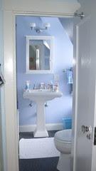 Daughter's sink, medicine cabinet, overhead light