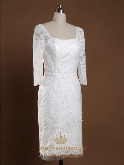 Short Lace Wedding Dress With Long Sleeves, Scoop Lace