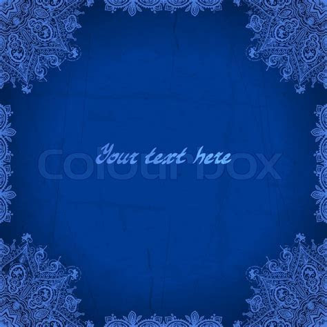 Blue abstract vector background. Lace border frame for