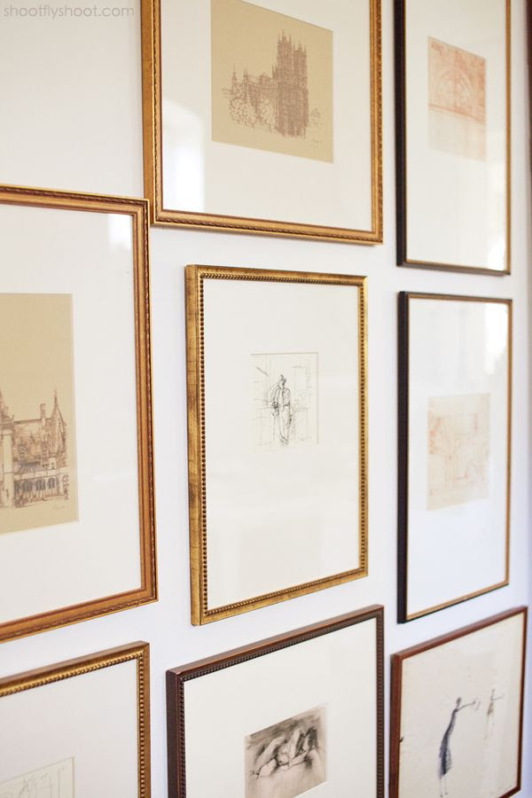 Delicately framed drawings