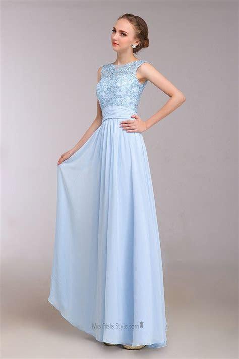 Floor Length Lace Light Blue Evening Party Dress   Party