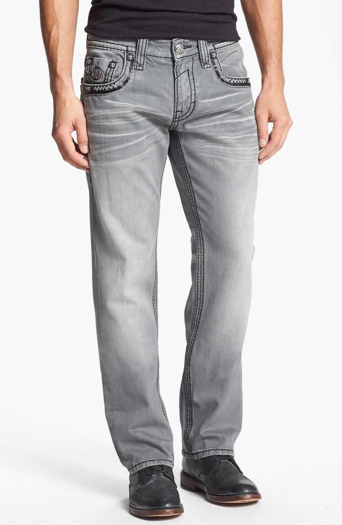 rock revival alton straight leg jeans in gray for men