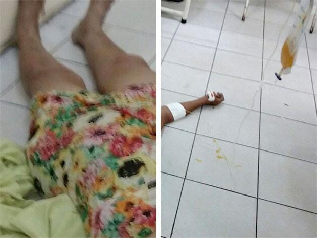 Idosa de 74 anos recebeu atendimento no chão do hospital em Mossoró (Foto: Divulgação/Sindsaúde Mossoró)