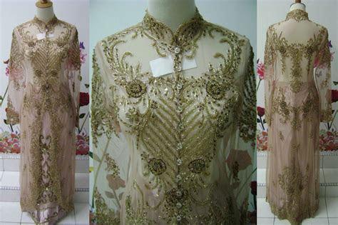 baju pengantin kebaya sulam kebaya indah coklat muda