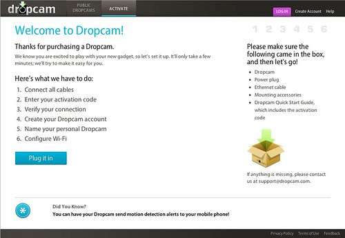 dropcam start page