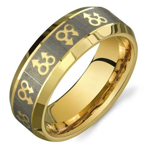 Pride Shack   Gold Mars Male Symbols Ring   Mens Gay Pride