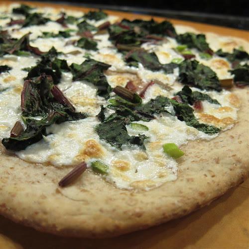 Beet Green & Garlic Scape Pizza
