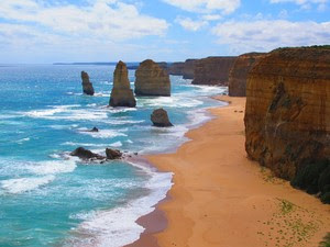 As pedras dos Doze Apóstolos, na Austrália (Foto: Flávia Mantovani/G1)