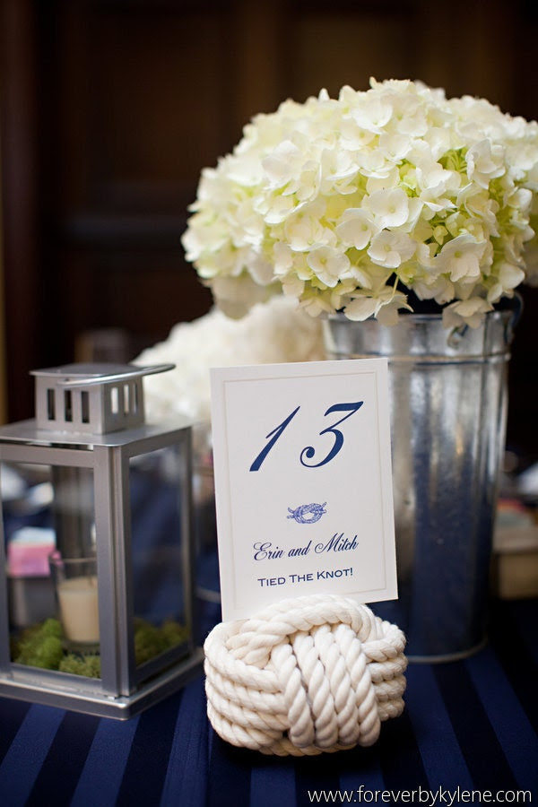 Nautical Wedding - 7 Nautical Rope Table Number Holders - Set of 7 little wedding knots for your beach wedding