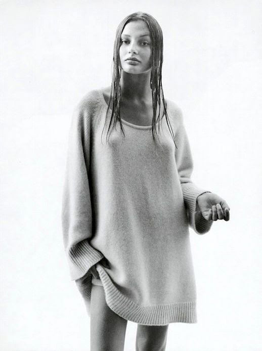 Le Fashion Blog Model Style Bridget Hall Oversized Sweater Dress Via Harpers Bazaar