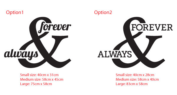 Always Forever Love Honeymoon Bedroom Wall Sticker Removable Decal