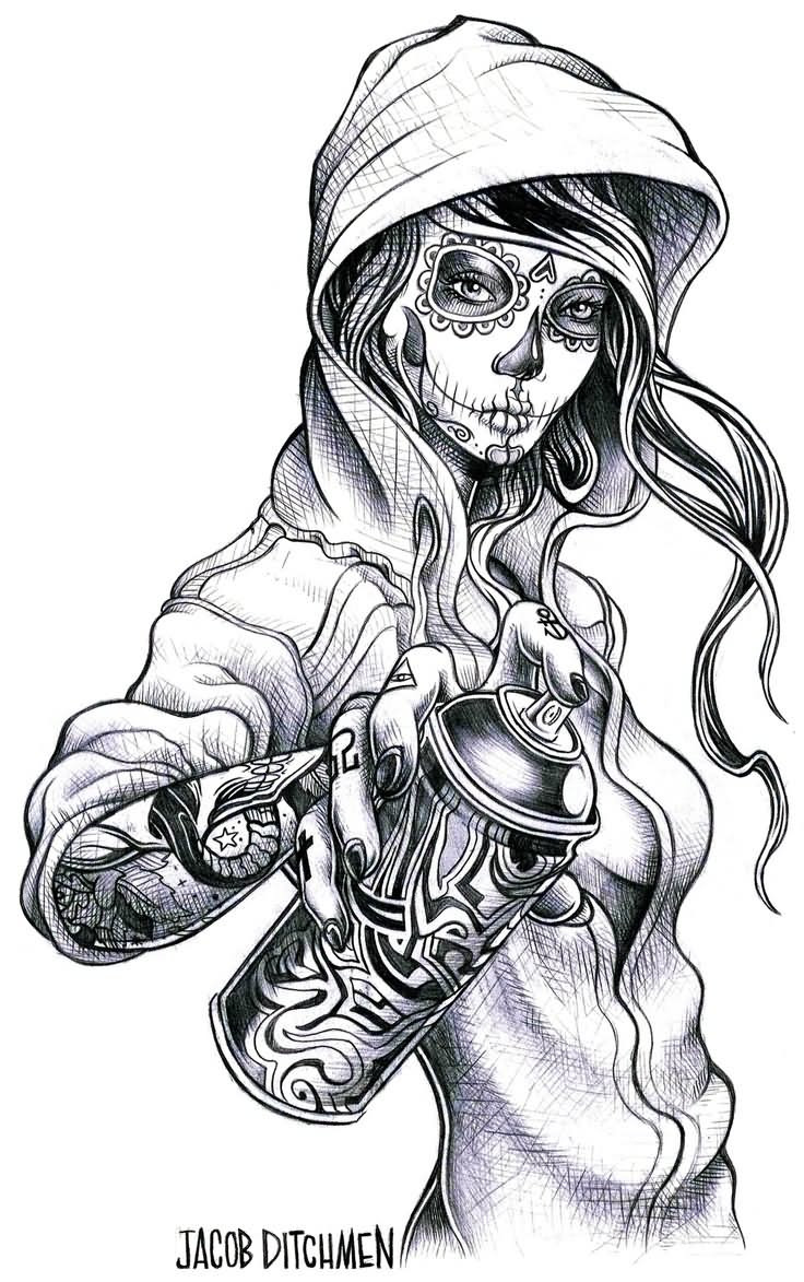 Traditional Day Of The Dead Tattoo Design Idea