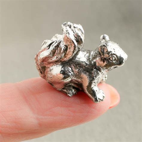 Miniature Faux Pewter Squirrel Figurine   Animal