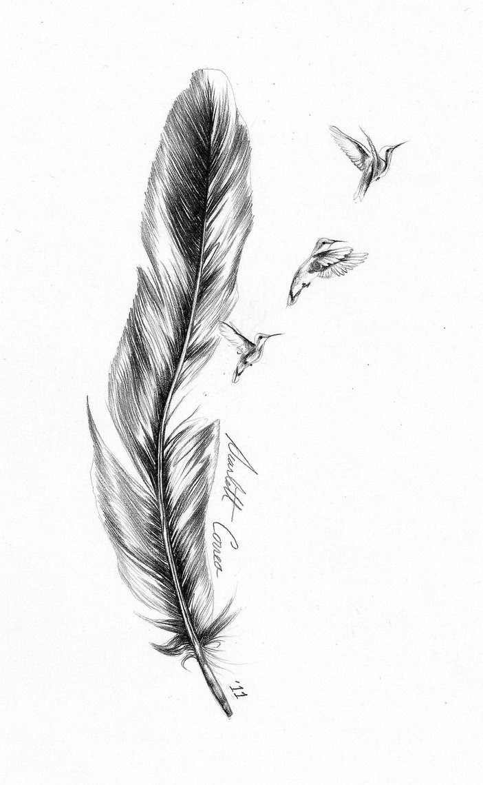 Good Flying Birds And Feather Tattoo Design