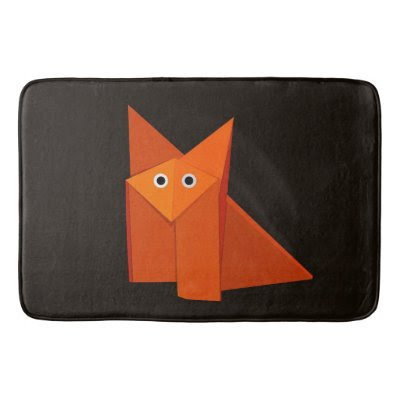 Dark Cute Origami Fox Bath Mats