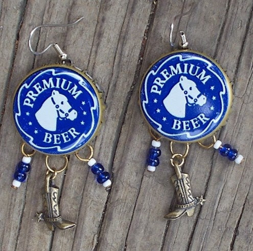 Even Cowgirls Get the Blues Upcycled Bottle Cap Earrings