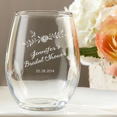 Customized Rustic Stemless Wine Glass Wedding and Bridal