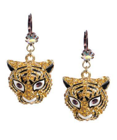 Betsey Johnson Crystal Tiger Drop Earrings