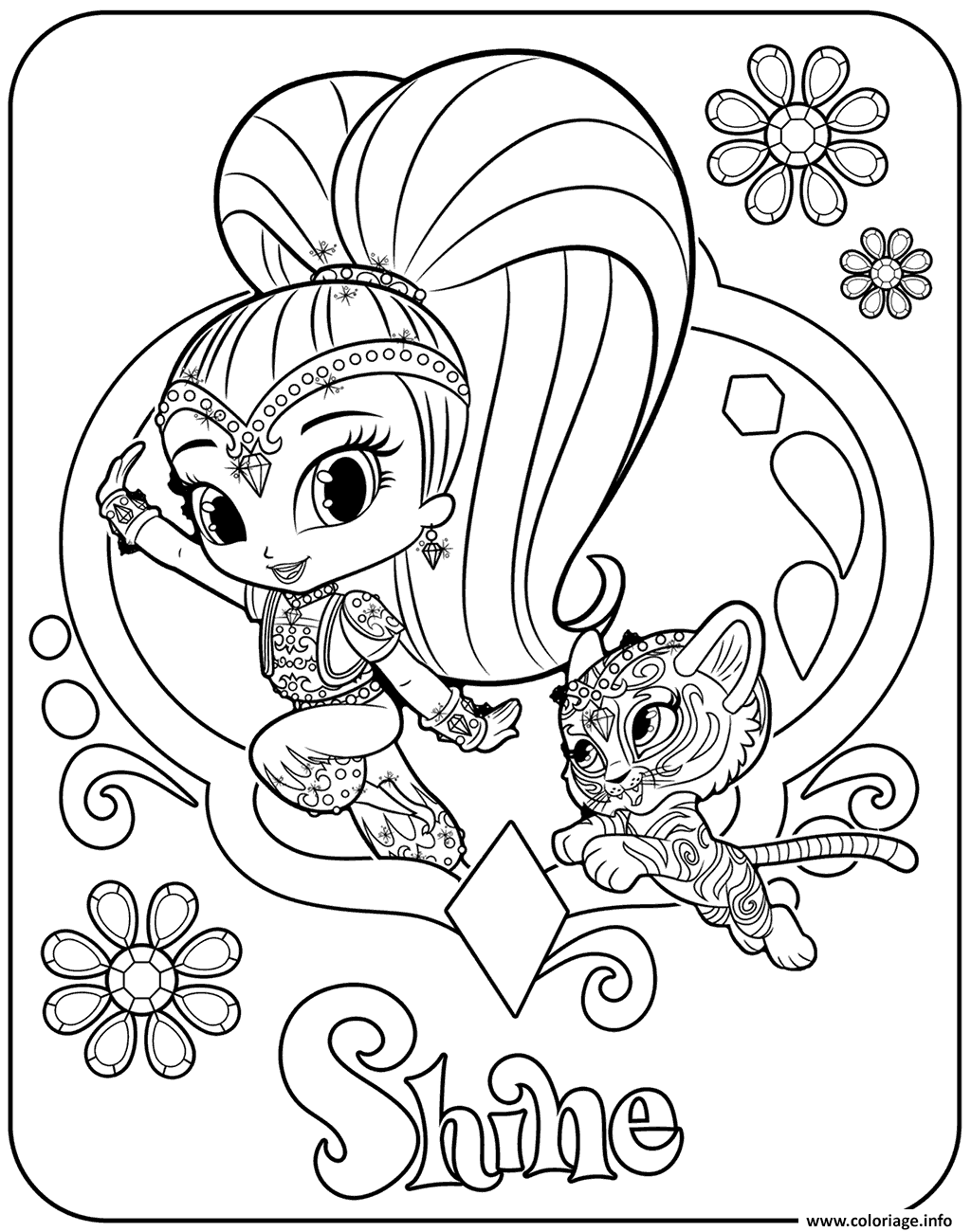 Coloriage Sweet Genie Shine And Pet Tiger Dessin   Imprimer